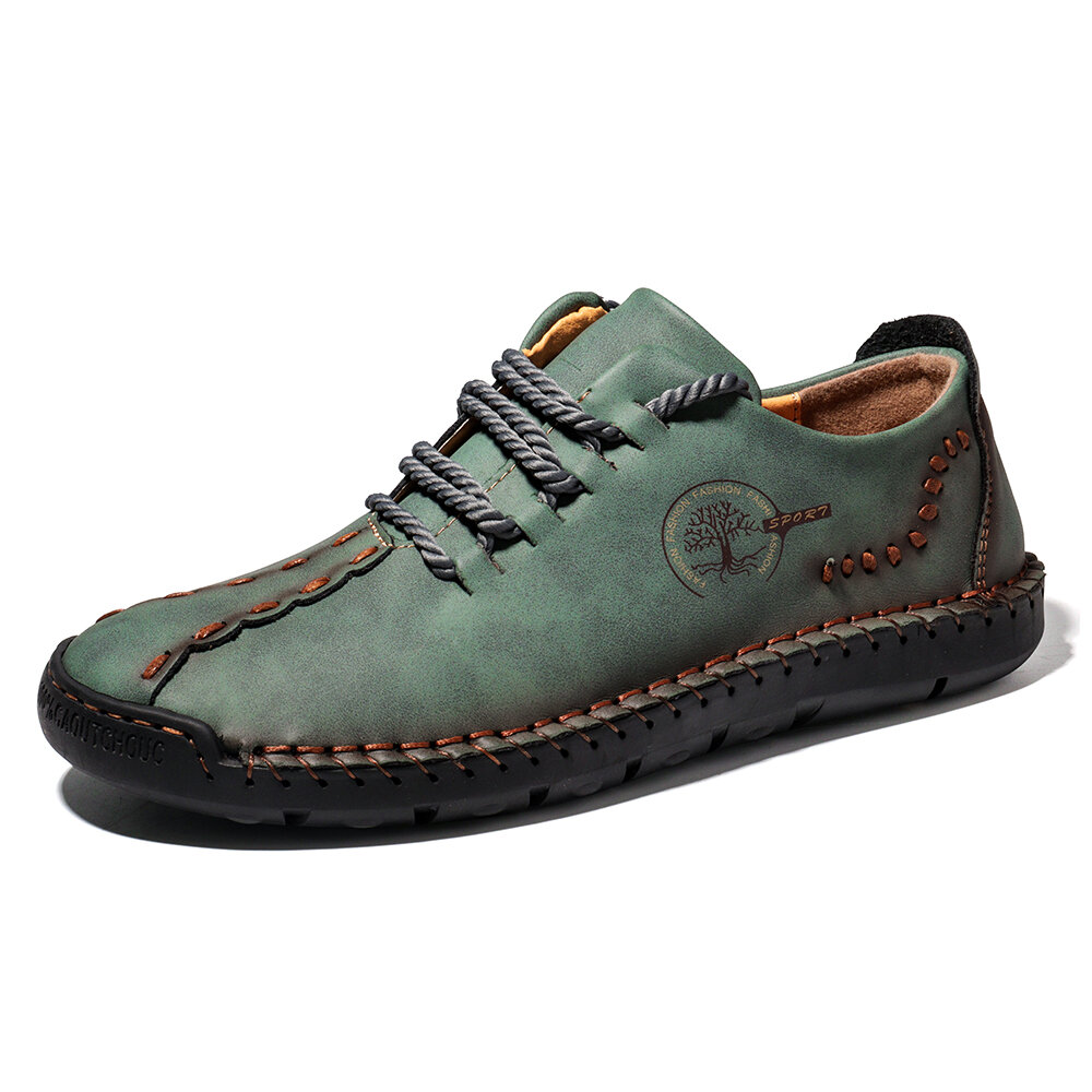 Men Hand Stitching Non Slip Soft Sole Casual Leather Shoes