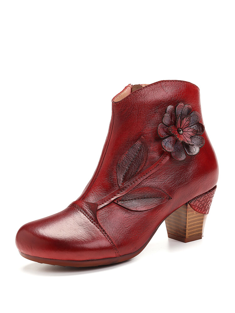 SOCOFY Womens Retro Red Flower Genuine Leather Elegant High Heel Ankle Boots