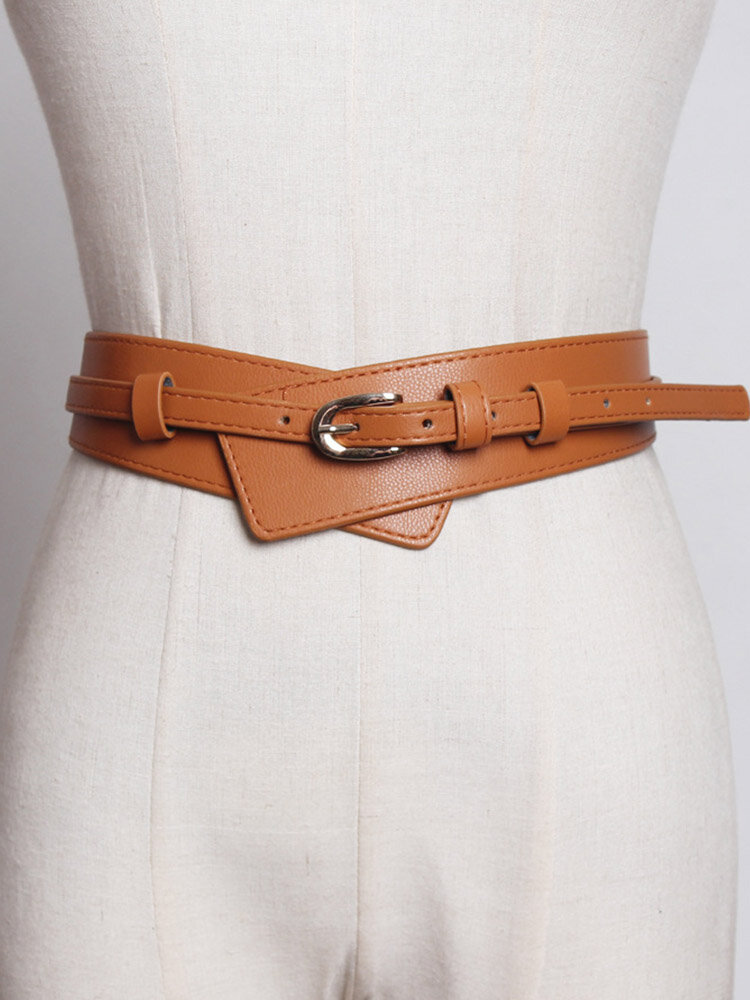 Women Leather Solid Color Pin Buckle Fashion Decorative Wide Belt
