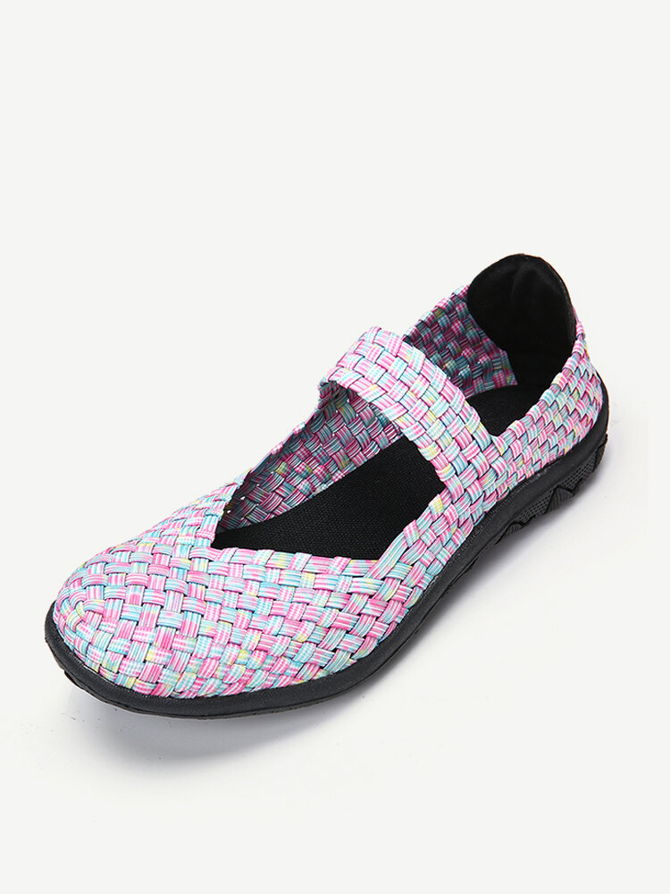 Knitted Colorful Slip On Casual Walking Flat Shoes