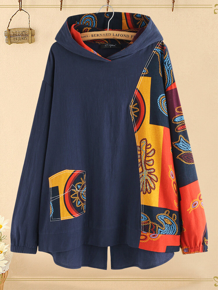 Vintage Printed Patchwork Irregular Plus Size Hooded Blouse