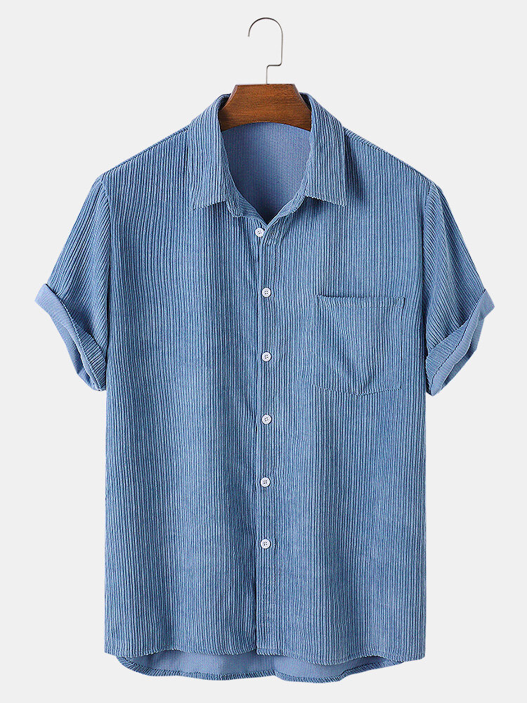 Mens Corduroy Solid Color Casual Breathable & Thin Short Sleeve Shirts