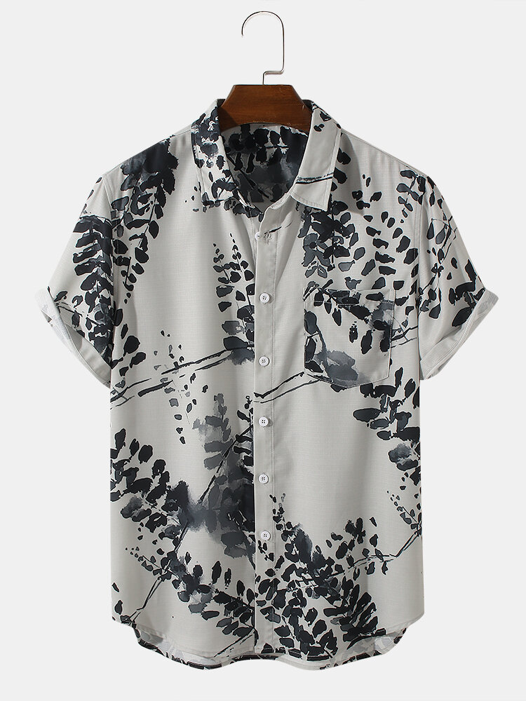 Mens Leaves Ink Painting Print Chest Pocket Turn Down Collar Short Sleeve Shirts