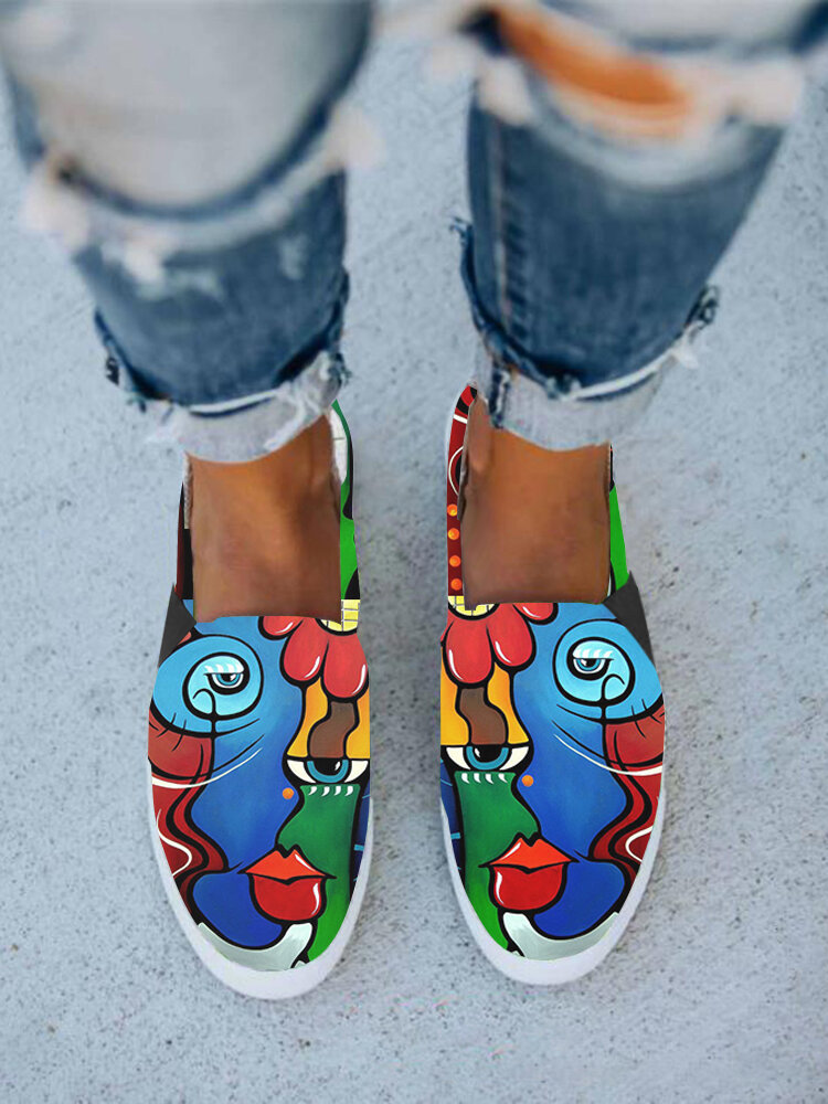 Women Casual Abstract Oil Painting Figure Pattern Hard-wearing Flat Canvas Shoes