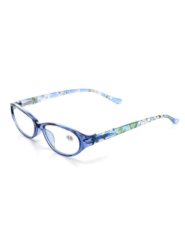 Women Transparent PC Frame Flower Pattern Light Anti-Fall Comfortable Presbyopic Glasses