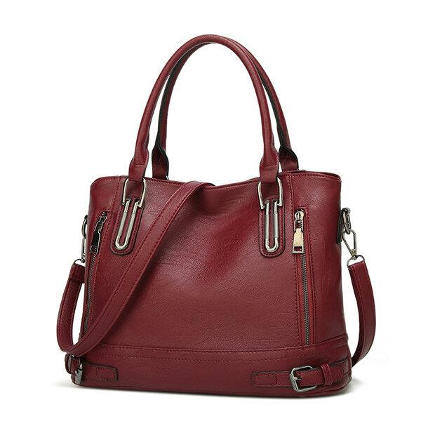 Women Soft Leather Large Capacity Tote Bag Solid Handbag Leisure Crossbody Bag