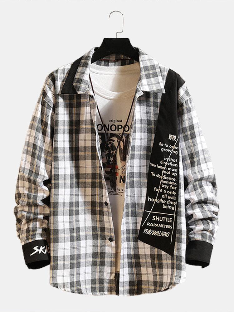 Mens Plaid Text Print Patchwork Lapel Cotton Casual Flannel Shirts