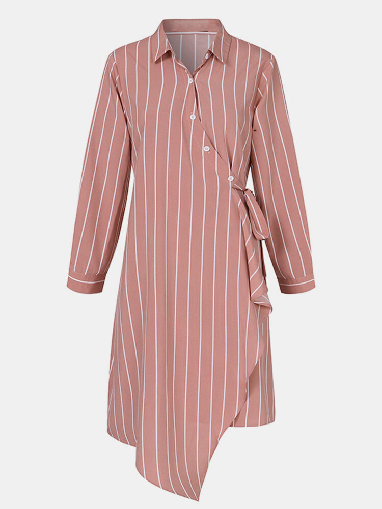 Striped Print Button Knotted Asymmetrical Long Sleeve Casual Dress