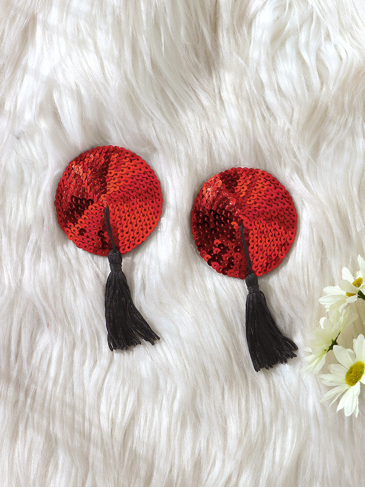 Women Round Shape Sequins Sexy Tassel Silicone Nipples