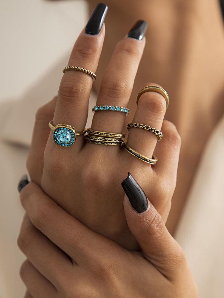 Alloy Vintage 8 PCS Diamond Gem Exaggerated Combination Ring Set