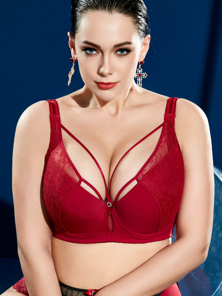 Plus Size J Cup Sexy Push Up Lightly Lined Harness Bra