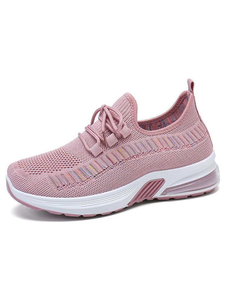 Women Breathable Knitted Comfy Air Cushioned Casual Running Shoes