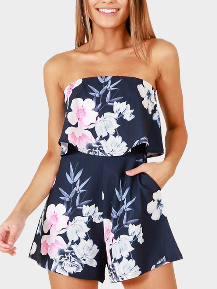 Floral Print Strapless Ruffle Pocket Short Casual Romper for Women