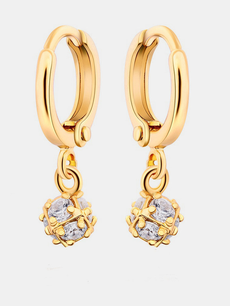 Fashion Ear Drop Earrings Gold Plated Ziron Irregular Ball Charm Earrings Elegant Jewelry for Women