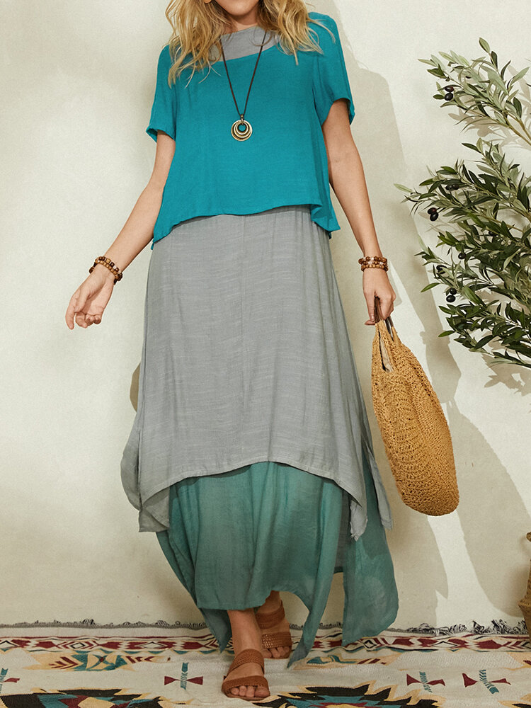Contrast Color Layered Two Pieces Short Sleeve Maxi Dress For Women