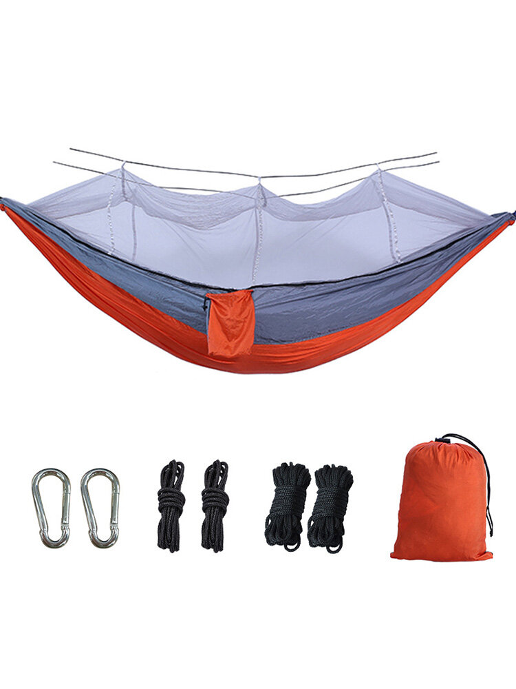 Single Double Camping Hammock With Mosquito Bug Net Portable Outdoor Mosquito Net Hammock Tent Parachute Camping Sleeping Bed Newchic