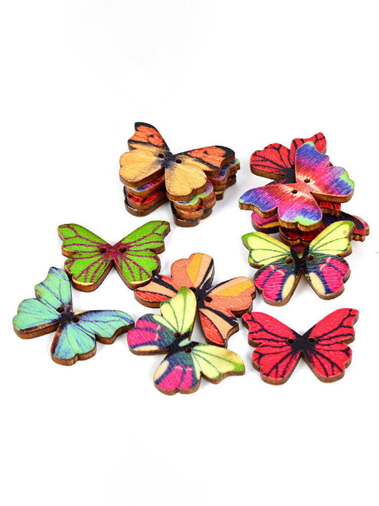 50PC 2 Holes Colorful Butterfly Wooden Buttons Fit Sewing And Scrapbooking Sewing Buttons