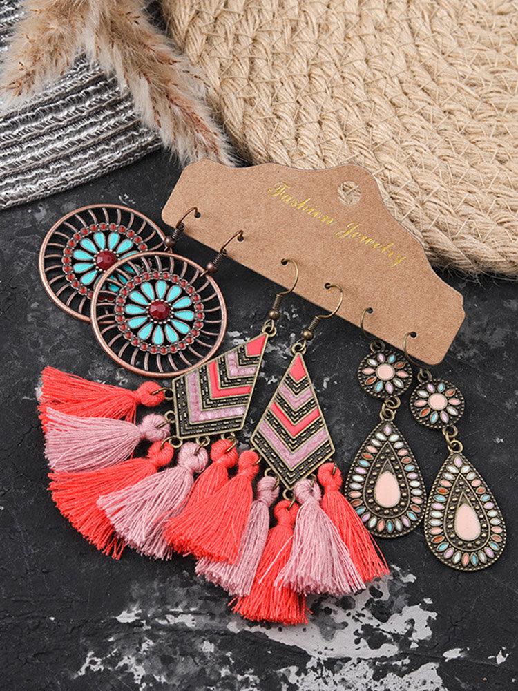 3 Pcs Bohemia Women Earrings Set Rhombus Round Diamond Tassel Pendant Earrings Jewelry Gift