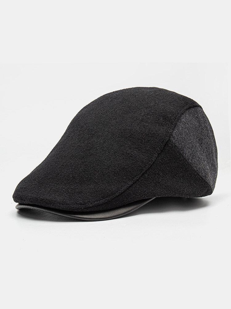 Men Woolen Cloth Patchwork PU Hat Brim Casual Warmth Beret Flat Cap