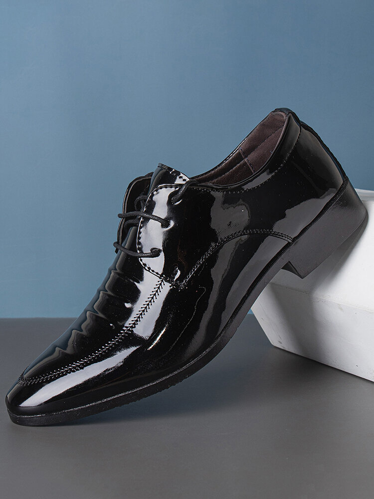 Men Lace-up Pure Color Pointed Toe Business Formal Dress Shoes