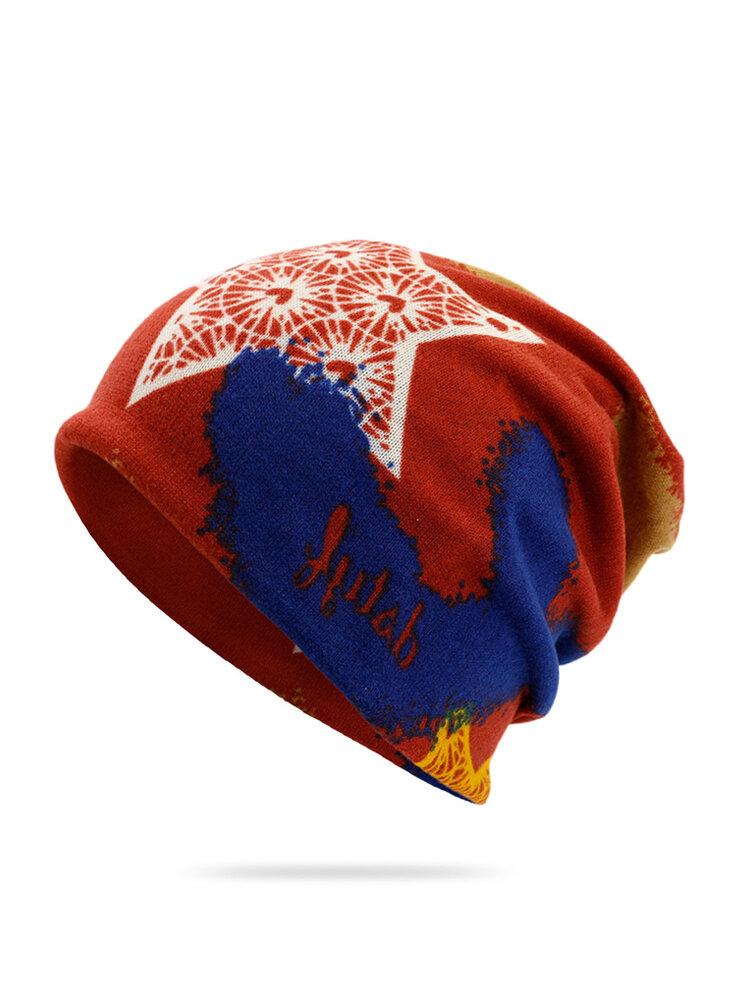 Women Hooded Hat Fashion Printed Dual-use Beanie Twist Hat