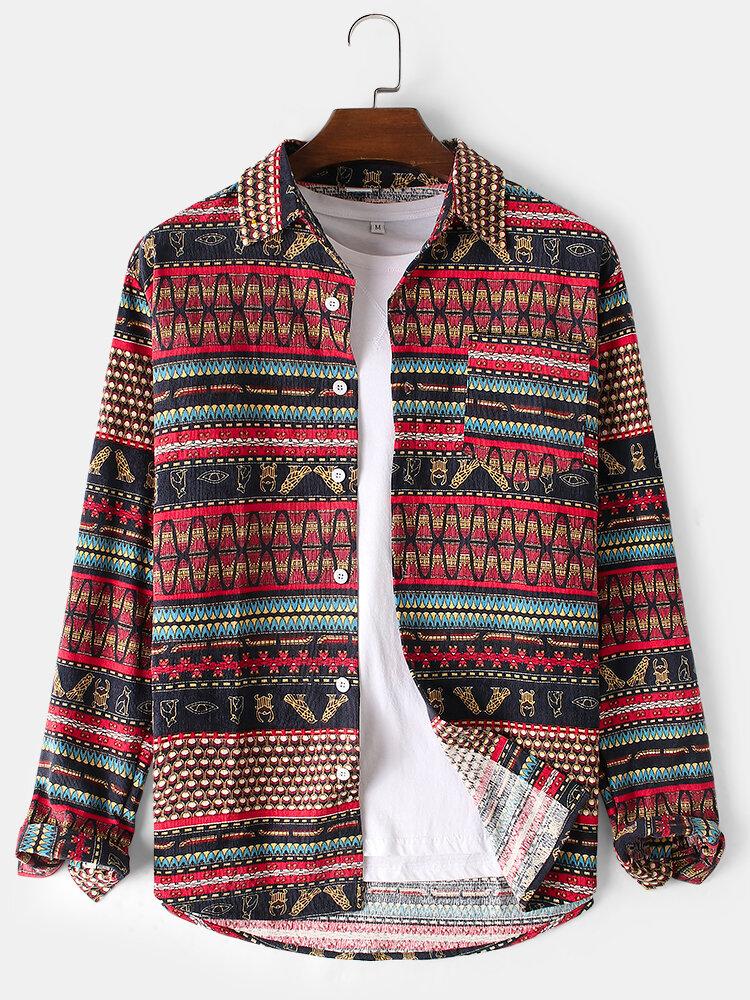 Mens Cotton Vintage Ethnic Patter Print Thin Daily Chest Pocket Shirts