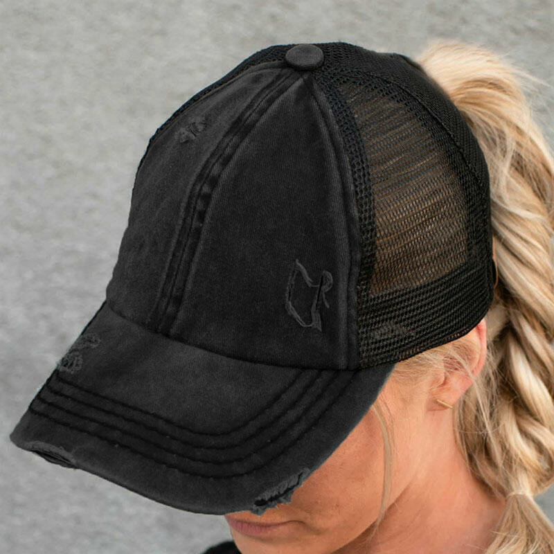 Women Cotton Solid Color Breathable Mesh Criss-cross Hallow Out Baseball Hat