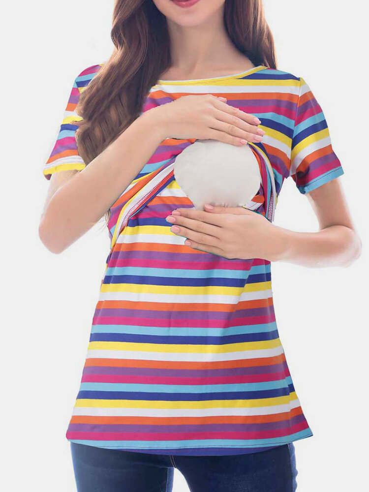 Maternity Striped Blouse Shirt with Functional Nursing Design For Pregnancy Women