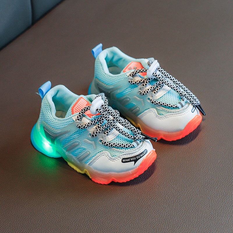 Unisex Kids Sports Mesh Splicing LED Light Rainbow Sole Lace Up Casual Sneakers