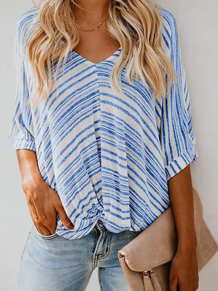 Loose Stripe Half Sleeve V-neck Casual Blouse For Women