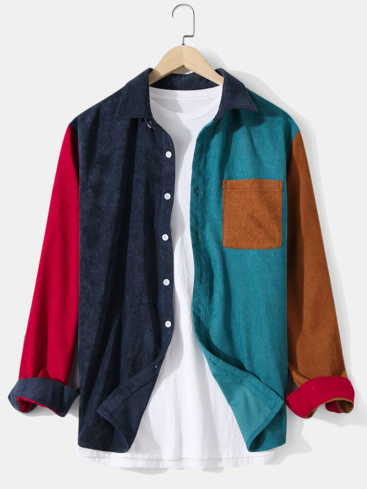Mens Corduroy Patchwork Color Block Relaxed Fit Long Sleeve Shirts With Pocket