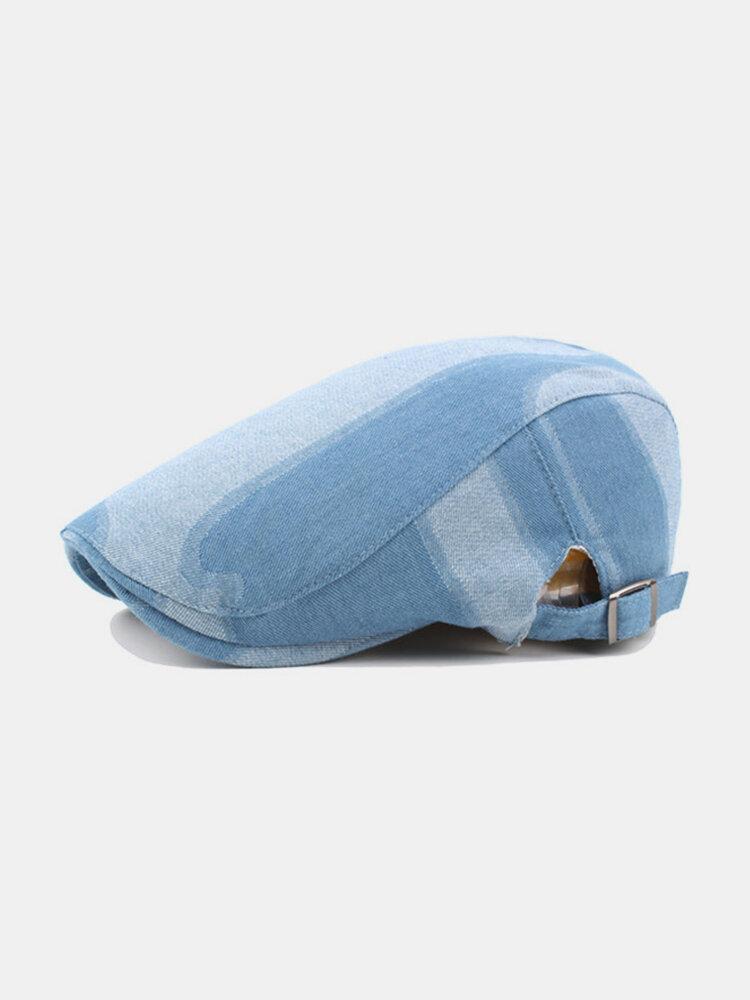 Mens Cotton Washed Denim Berets Caps Outdoor Sunshade Newsboy Cabbie Cap Adjustable