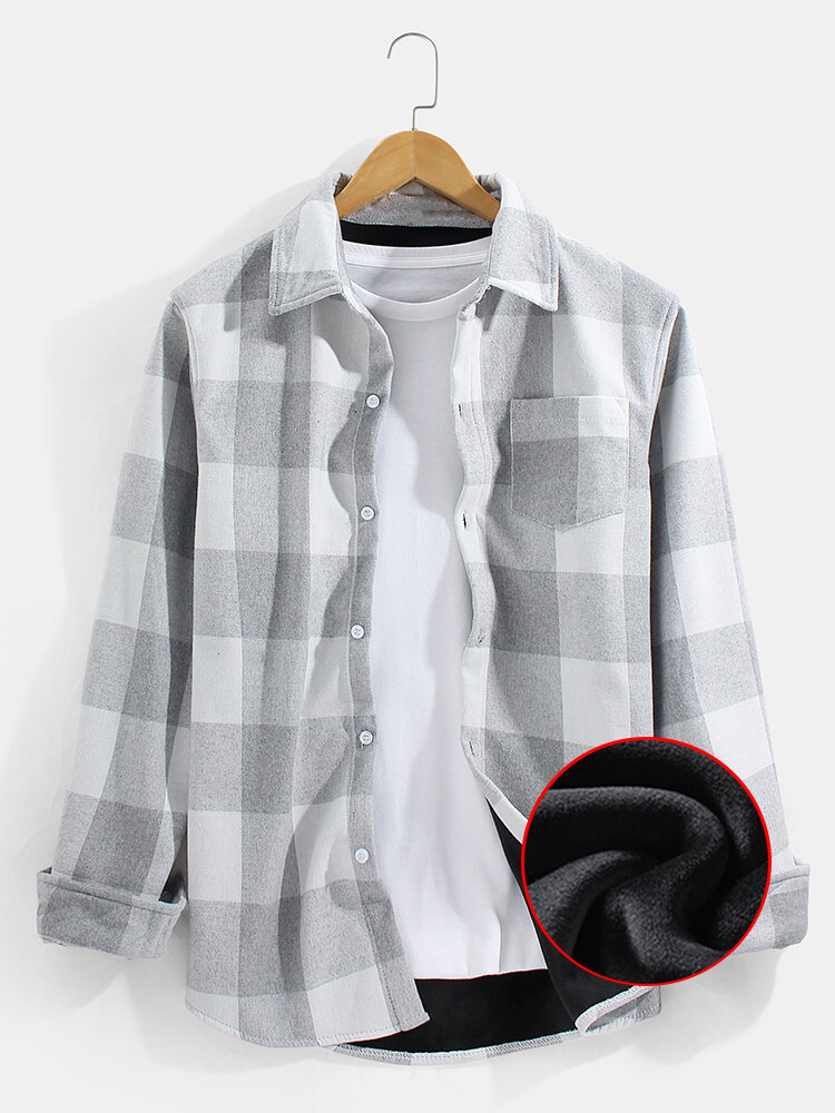 Mens Plaid Check Button Front Thick Lined Warm Shirt Jacket With Pocket