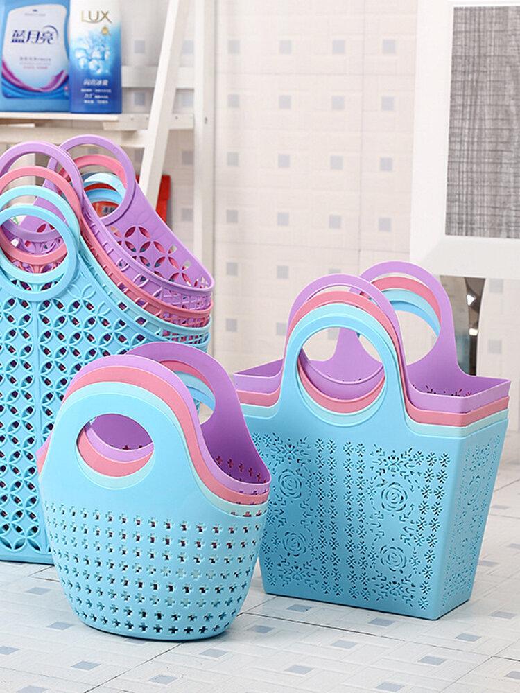Kitchen Bathroom Storage Basket Portable Shopping Tote Bag