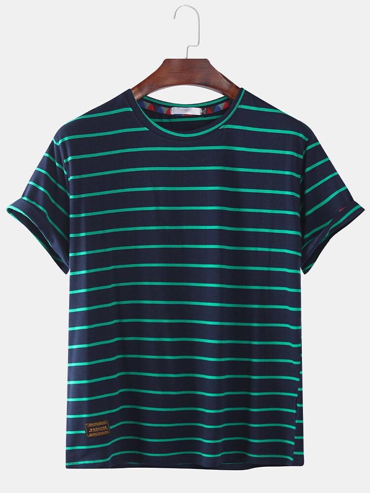 Mens Fashion Designer Stripped Printed Loose Short Sleeve T-Shirts