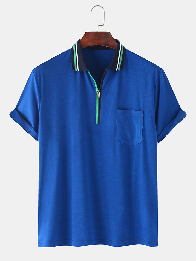Mens Front Zip Fastening Short Sleeves Polo Shirt With Contrast Ribbed Trims