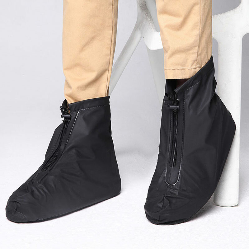 Men Waterproof Slip Resistant Front Zippers Ankle Rain Boots Covers