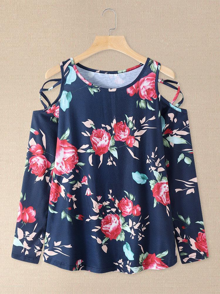 Camiseta de manga larga con hombros descubiertos y estampado de flores Mujer