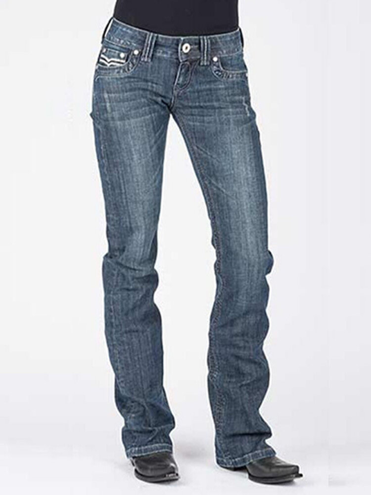 Embroidery Pockets Solid Color Casual Jeans For Women