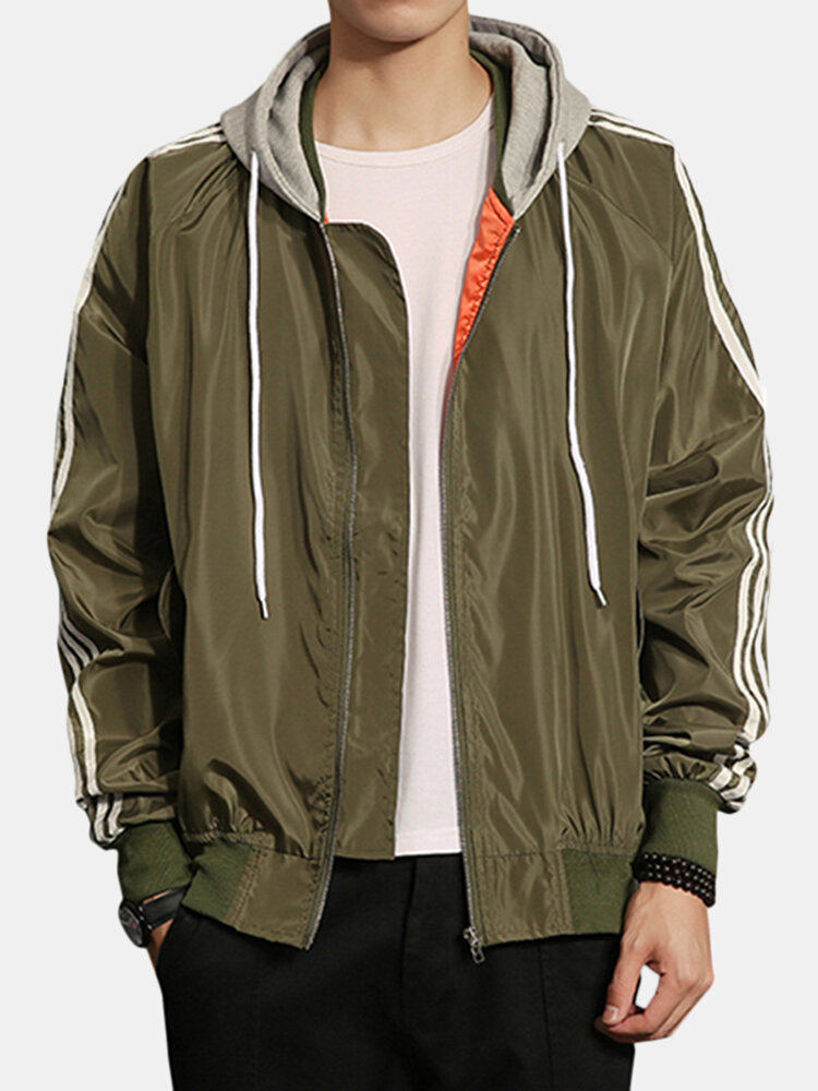 Smooth Drawstring Hooded Solid Color Loose Plus Size Jacket for Men