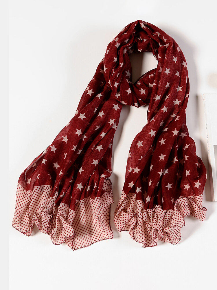 Women Cotton Thin Pentagram Patchwork Color Scarves Casual  Long Scarf Shawl