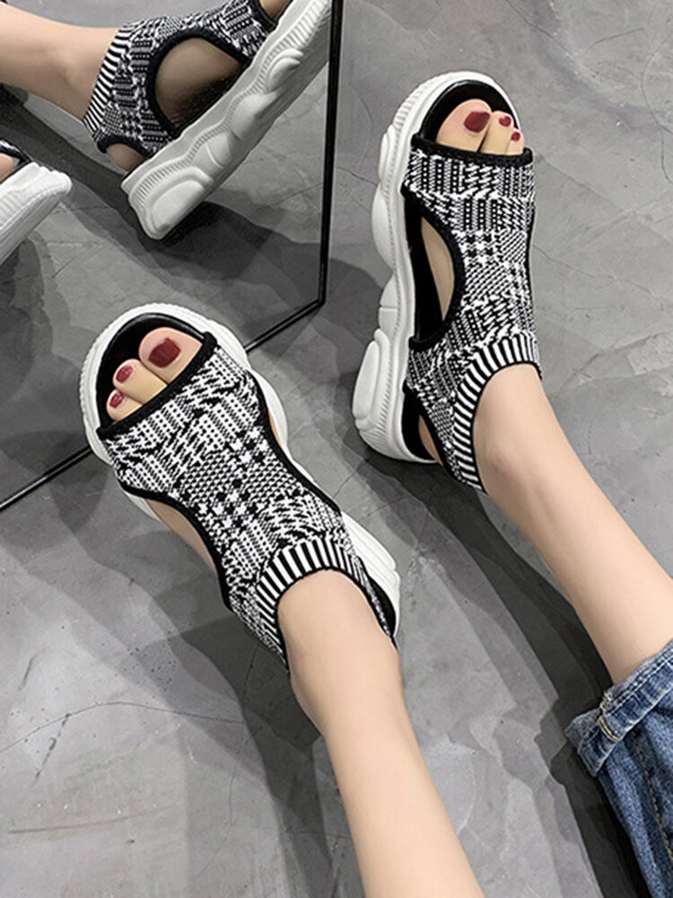 Women Casual Platform Breathable Knitted Fabric Soft Sole Lightweight Comfortable Sports Sandals