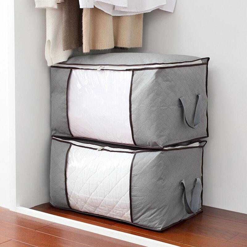 <US Instock> Sac de rangement pour couettes de vêtements haute capacité Sac de rangement pliant Sacs de rangement portable en bambou-Bleu