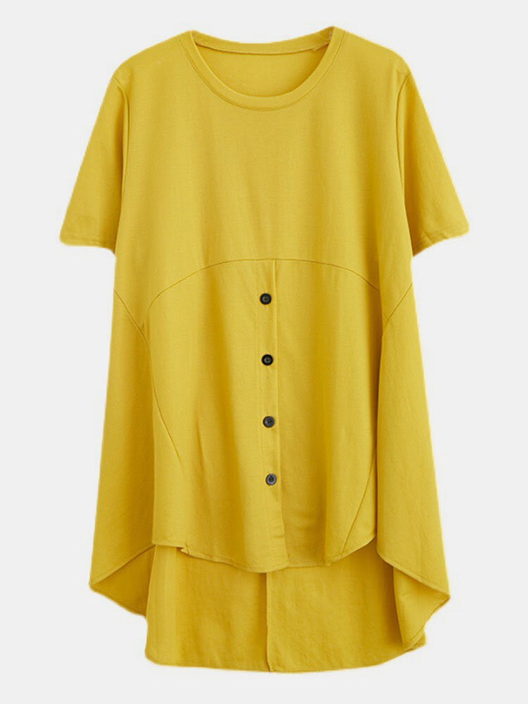 Solid Button Front High-low Short Sleeve Plus Size Casual T-shirt