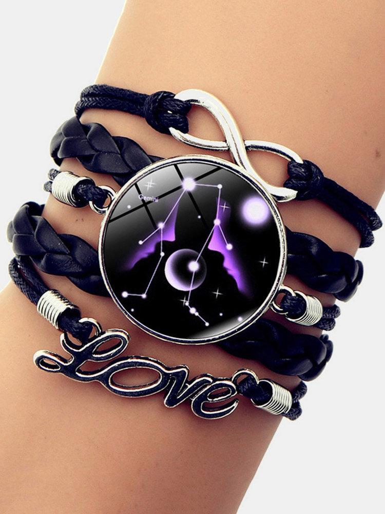 Vintage Twelve Constellation Women Bracelet LOVE Letter Multilayer Bracelet
