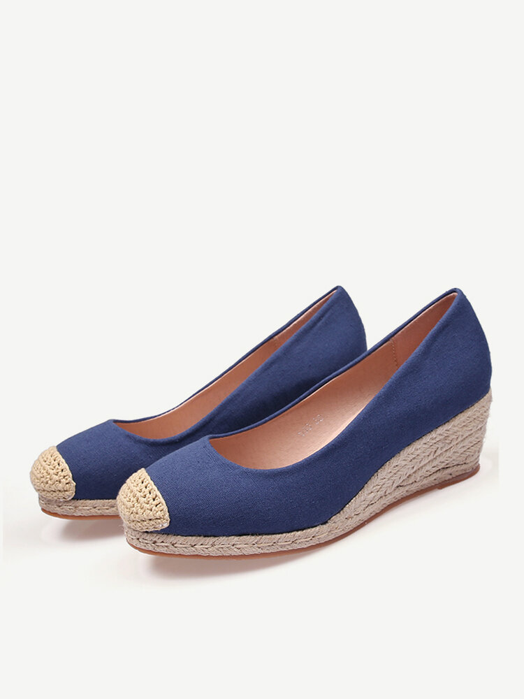 Women Casual Solid Color Woven Patchwork Wedges Heel Espadrille Loafers Shoes