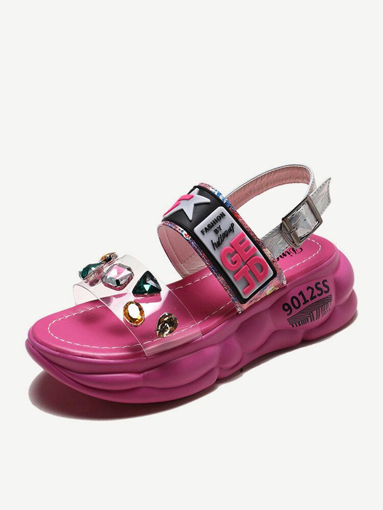 Sports Wind Sandals Female Season New Muffin Thick-bottom Rhinestone Fashion Transparent Open Toe Shoes