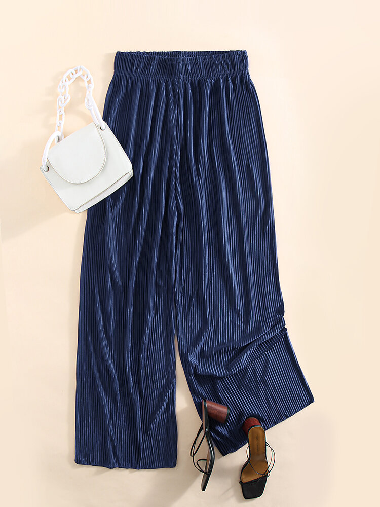 Solid Color Ribbed Elastic Waist Wide Leg Lounge Pants For Women