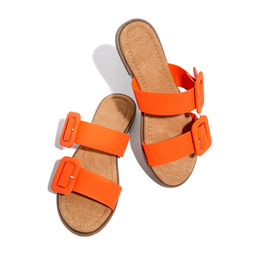 Plus Size Women Daily Comfy Open Toe Dual Strap Buckle Slip On Slippers