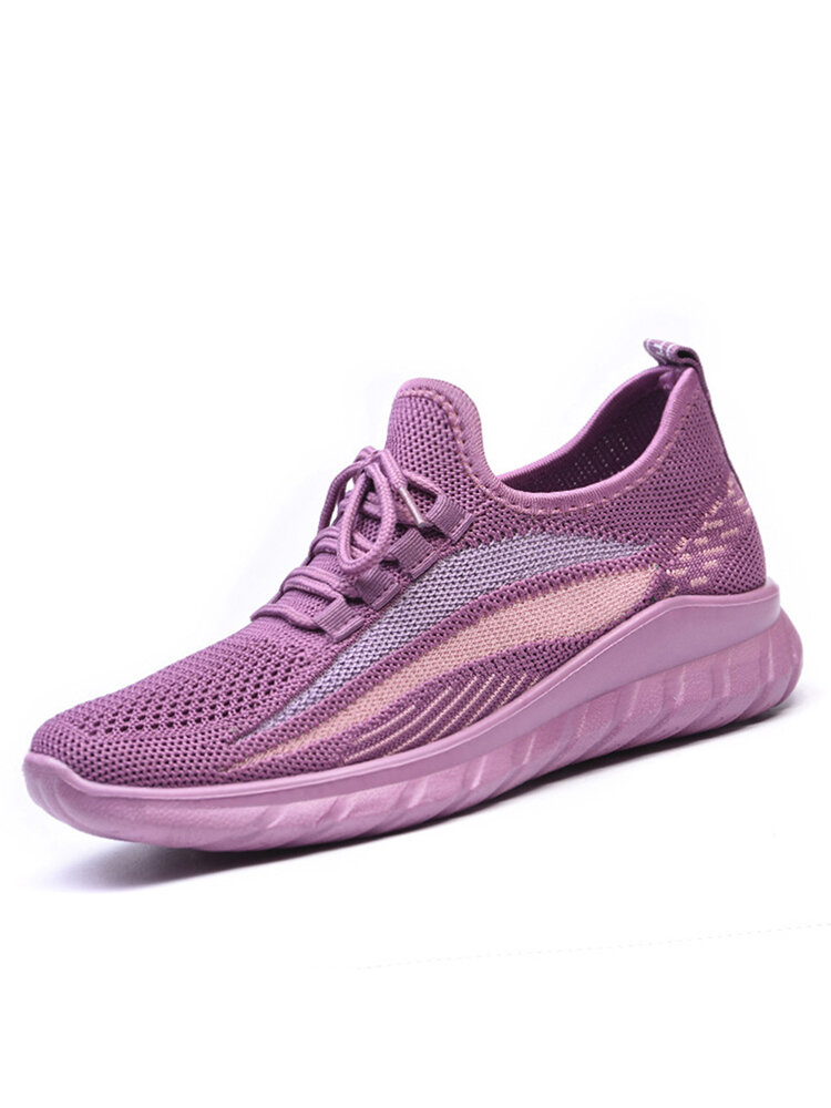 Women Running Knitted Stripe Detail Breathable Slip Resistant Casual Sneakers